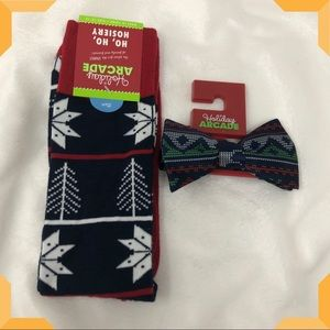 Holiday bow tie and socks gift set for men